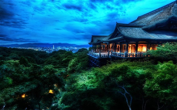 Wallpaper Japanese architecture Kiyomizu Kyoto, dusk, lights, blue