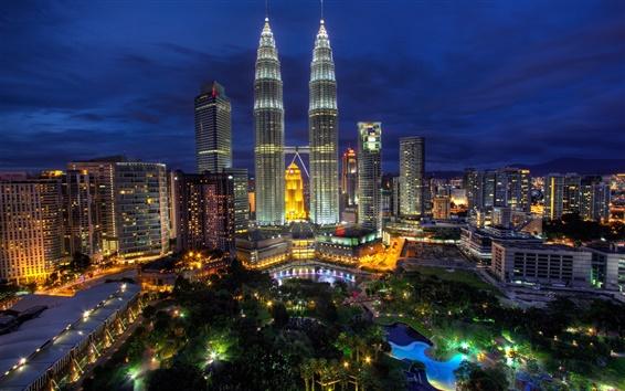 Papéis de Parede Kuala Lumpur, Malásia, noite da cidade, luzes, construções