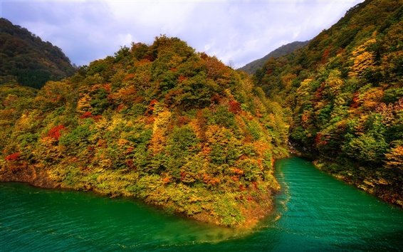 Wallpaper Lake Tazawa, Japan, mountains, forest, autumn