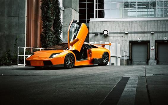 Обои Оранжевый Lamborghini суперкар вид сбоку