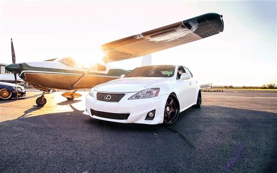 Wallpaper Lexus IS white car, sun, plane
