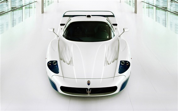 Wallpaper Maserati MC12 supercar white color