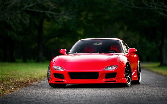 Wallpaper Mazda RX-7 FD red supercar front view