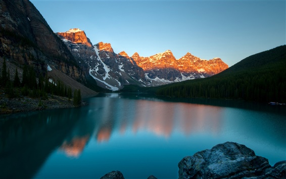 Wallpaper Moraine Lake, Banff National Park, Canada, mountains, dusk