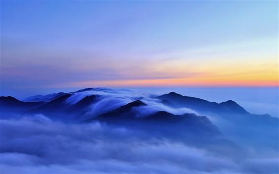 Wallpaper Nature morning landscape, hills, clouds, fog, sunrise, blue