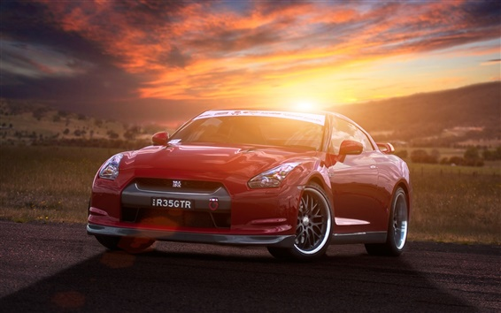 Wallpaper Nissan GT-R R35 red supercar at sunset