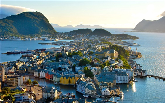 Wallpaper Norway, city, architecture, houses, mountains, trees, sea
