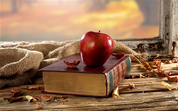 Wallpaper Old book, red apple, desk, window, dry leaves