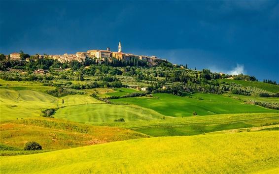 壁紙 ピエンツァ、トスカーナ、イタリア、フィールド、木、家、緑