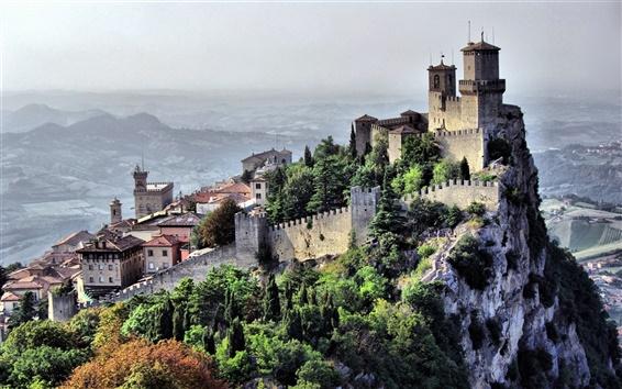 Wallpaper San Marino, country, city landscape, cliff, castle