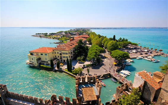 Wallpaper Sirmione, Lombardy, Italy, Lake Garda, island, house, trees, panorama