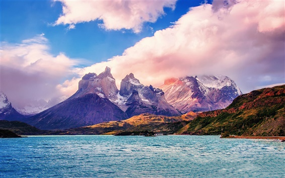 Wallpaper South America, Chile, Patagonia, lake, mountains, clouds, sky
