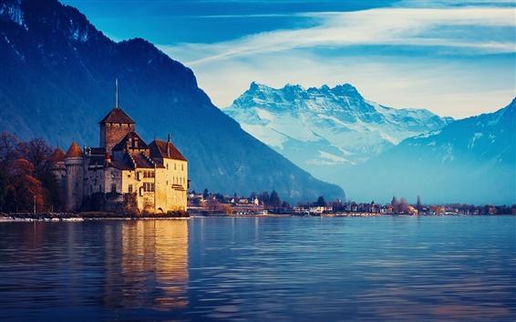 Fondos de pantalla Suiza, Lago Ginebra, casa, montañas, agua, cielo azul