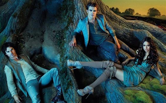 Wallpaper The Vampire Diaries, Nina Dobrev, Paul Wesley, Ian Somerhalder