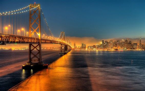 Wallpaper USA, California, San Francisco, Bay Bridge, city, night, lights