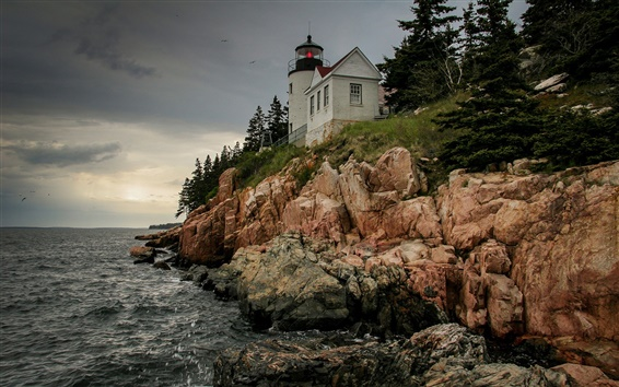 Papéis de Parede Estados Unidos, Bass Harbor Farol, rochas, céu, costa, mar