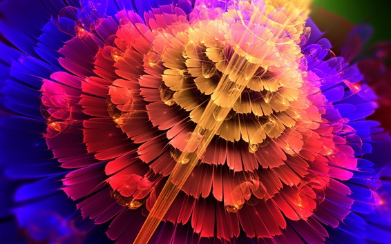 Wallpaper Abstraction flowers, red, blue, petals colors
