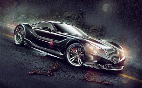 Wallpaper Art design black supercar