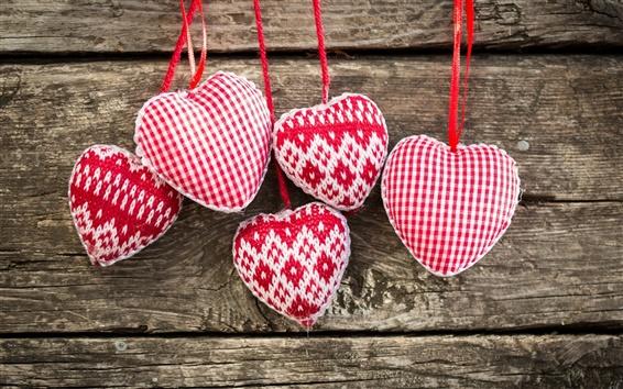 Papéis de Parede Art malha, vermelho coração branco