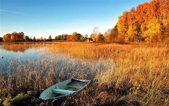Fond d'écran Automne paysage, lac, herbe de l'eau, bateau, arbres, maison