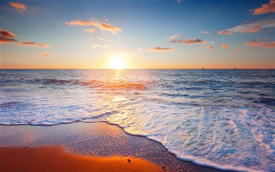 Wallpaper Beautiful sunset scenery, sea, sky, clouds, beach, waves