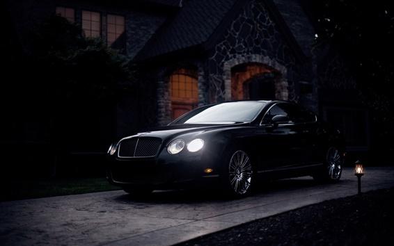 Wallpaper Bentley Continental GT black supercar at twilight
