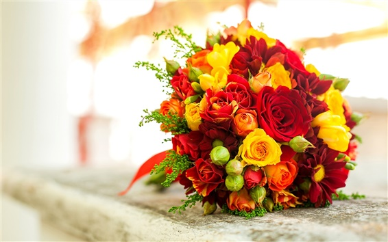 Wallpaper Bouquet flowers, red yellow rose