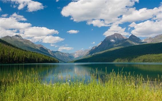Fond d'écran Bowman Lake, Glacier National Park, Montana, montagnes, nuages