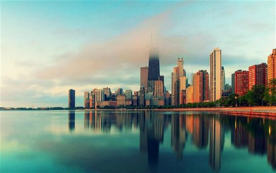Wallpaper Chicago, Illinois, city skyscrapers, water, fog