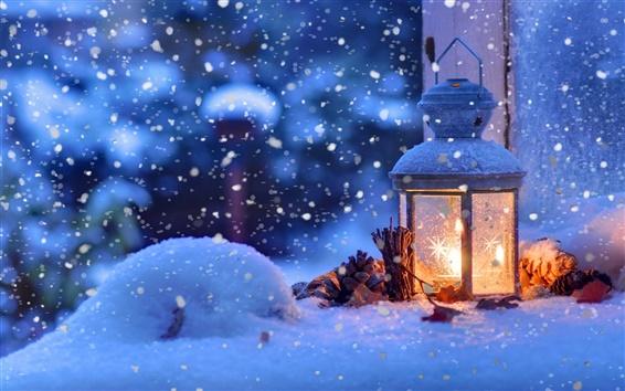 Wallpaper Christmas snow winter, light, snowflakes