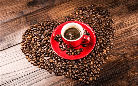 Wallpaper Coffee beans, grains, heart shaped, red cup