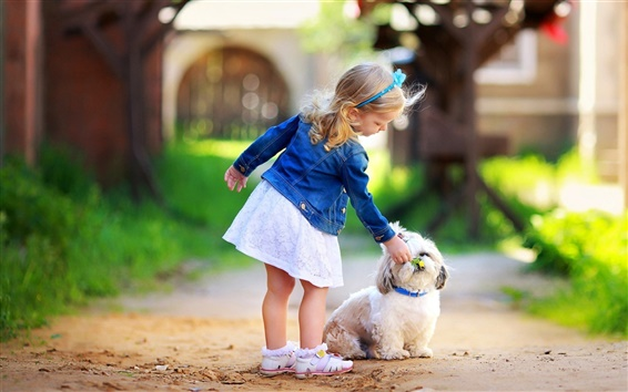 Wallpaper Cute little girl with dog
