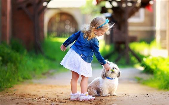 Fondos de pantalla Niña linda con el perro