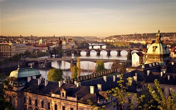壁紙 チェコ共和国、プラハ、都市、橋、ヴルタヴァ川、日の出、住宅
