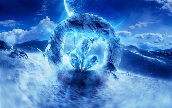 Обои Desktopography логотип, цифровое искусство, сова, планета, море, голубое