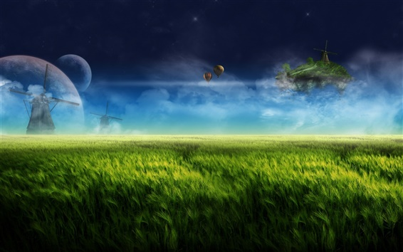 Wallpaper Dream landscape, digital design, farm, windmill, green