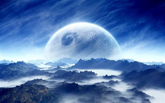 Обои Мечта пейзаж, планеты, небо, горы, облака, синий, белый