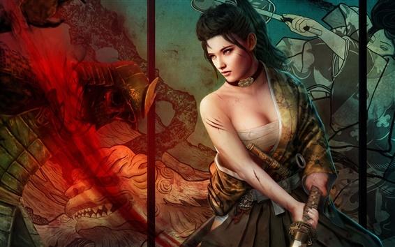 Papéis de Parede Fantasia japonês menina, katana, sangue