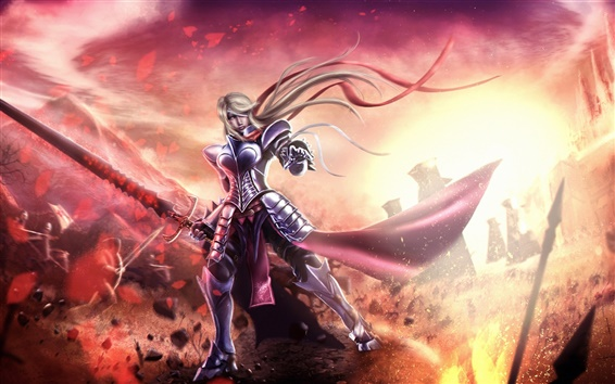 Wallpaper Fantasy knight girl, armor, sword, battle