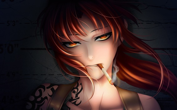 Wallpaper Fantasy red hair girl smoking