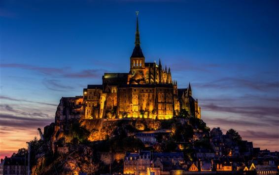Wallpaper France, Mont Saint-Michel, castle, city evening, lights