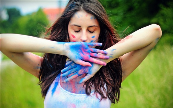 Wallpaper Girl colorful paint on hands