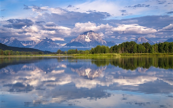 Wallpaper Grand Teton National Park, Mount Moran, Snake River, trees, clouds