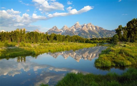 Wallpaper Grand Teton National Park, Wyoming, mountains, lake, reflection