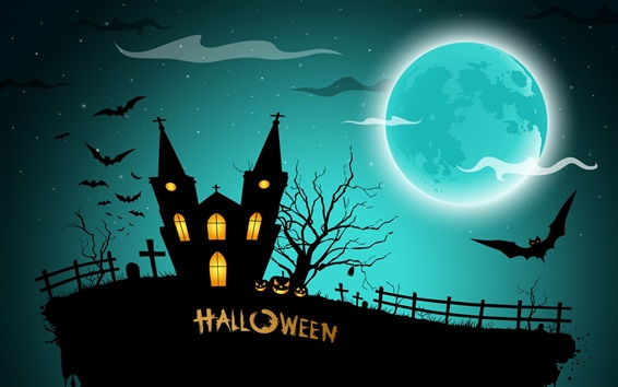 Wallpaper Halloween, creepy midnight, pumpkins, bats, house, full moon