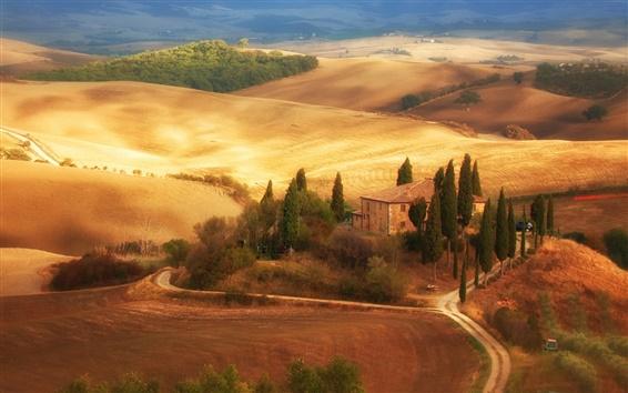 Fondos de pantalla Italia, Toscana, campos, otoño, casa, árboles, camino