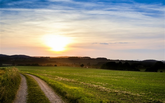 Wallpaper Italy nature scenery, fields, footpath, evening sunset