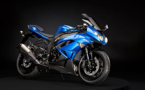 Wallpaper Kawasaki Ninja ZX-6R motorcycle blue