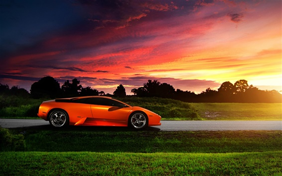 Wallpaper Lamborghini orange supercar at sunset