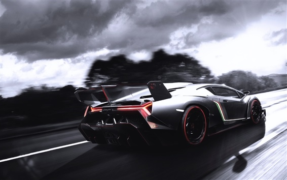 Wallpaper Lamborghini supercar at road high speed